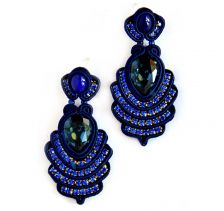 Dark Blue Swarovski Crystals Sutazhny Earrings | Olga Sergeychuk