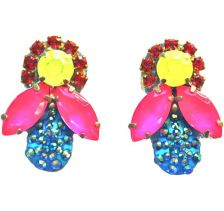 Doloris Petunia Honey Bee Earrings - Yellow, Pink and Blue