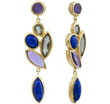 Nile Lymph Long Cluster Earrings Blue Lapis | Isharya