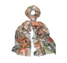 Fresh love Floral Coral Silk Wool Scarf