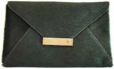 Isabel Englebert Furry Green Leather Envelope Clutch Silver