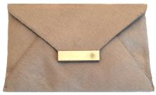 Isabel Englebert Furry Grey Leather Envelope Clutch Silver
