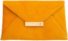 Isabel Englebert Furry Yellow Leather Envelope Clutch Silver