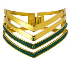 Isabel Englebert Gladiator Choker Necklace Emeralds and Gold