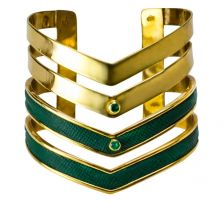 Isabel Englebert Gladiator Cuff Emeralds and Gold