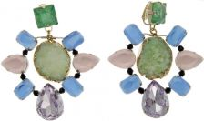 VOLHA Jewelry Gold Plated Green Druzy Quartz and Crystals Clip Earrings