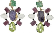 VOLHA Jewelry Gold Plated Purple Druzy Quartz and Crystals Clip Earrings