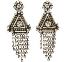 Deepa Gurnani Gunmetal Gatsby Triangle Dangle Earrings
