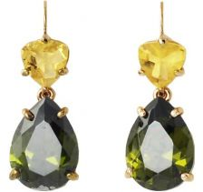 Isharya  Green Yellow Crystal Libra Earrings