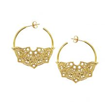 Half Moon Mandala Hoop 18k Gold Plated Earrings | Lucy Ashton