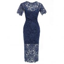 HANNAH Guipure lace short sleeve midi dress