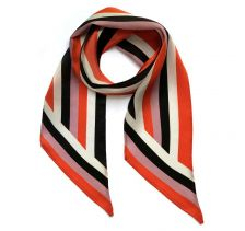 Henley Silk Stripe Neck Scarf Black