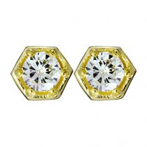 Hexagon Gold Stud Earrings by Zoe & Morgan Fine Jewellery