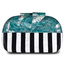 Jean Green Abalone Black Pen Shell White Kabebe Clutch