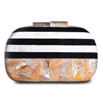 Jean Yellow Abalone Black Pen Shell White Kabebe Clutch