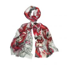 Jin Red Floral Silk Wool Scarf