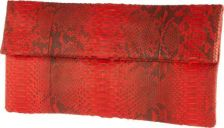 Katja Tamara Red and Black Python Clutch