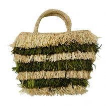 Lea Green & Nude Fringe Raffia Handbag | The Noces