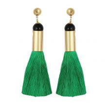 Long Green Tassel Earrings | Sollis Jewellery