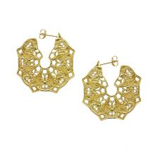 Mandala Hoop 18k Gold Plated Earrings | Lucy Ashton