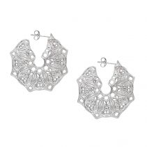 Mandala Hoop Sterling Silver Earrings | Lucy Ashton