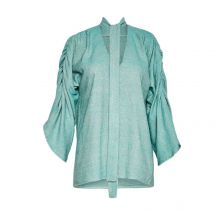 Maxine silk blouse with neck tie in Mint