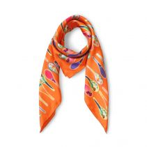Orange Porcelain Dancing Spoons Silk Scarf