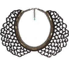 NOCTURNE Nova Glass Diamond, Metal and Mesh Statement Necklace