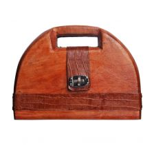 Oby Half Moon Wooden Clutch