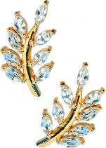 Eddera Olive Branch Aquamarine Stud Earrings