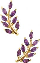 Eddera Olive Branch Amethyst Stud Earrings