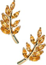 Eddera Olive Branch Yellow Topax Stud Earrings