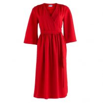 Pearl Wrap Dress with Kimono Sleeve in Red