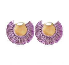 Ricardo Rodriguez Pruple Pavone Hoop Earrings