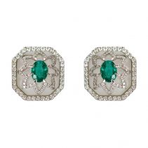 Rock Crystal and Emerald Earrings | Ri Noor Jewelry