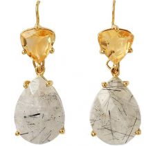 Isharya Rutile Citrine Libra Earrings