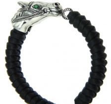 Kriss & Jules Silver Horse Head with Emerald Eyes Navy Blue Bracelet