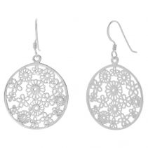 POTC Jewellery Silver Tone Drop Earrings With Flower Design