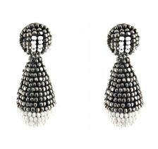 Silver and White Play Earrings | Begada