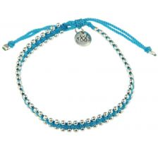 Kriss and Jules Small Silver Bites Neoon Blue Nylon Thread Bracelet