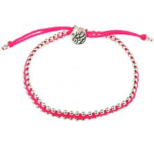 Kriss and Jules Small Silver Bites Neoon Pink Nylon Thread Bracelet