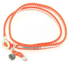 Kriss & Jules Neon Orange Silver Tubes Double Bracelet