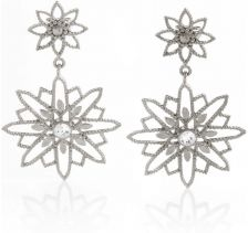 Tulola Starburst Double Drop White Platinum over Silver Earrings