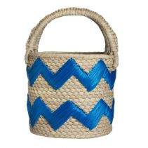 Blue Raffia Zig Zag Woven Straw Top Handle