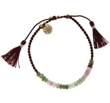 Kriss and Jules Tourmalines with Rose Gold on Burgundy Nylon Thread Bracelet
