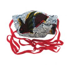 Tribal Fish Print with Red Ties Face Mask