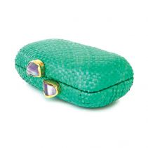 KAYU Design Green Ubud Straw with Agate Nugget Clasps Clutch