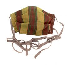 Vintage Tribal Stripes with Brown Ties Face Mask