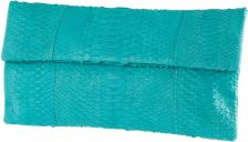 Katja Tamara Sea Foam Blue Python Leather Clutch