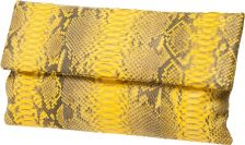 Envelope Black and Yellow Python Clutch